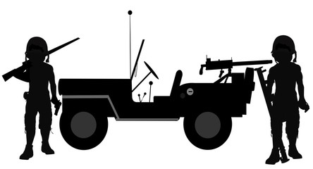 soldiers beside their jeep in silhouette