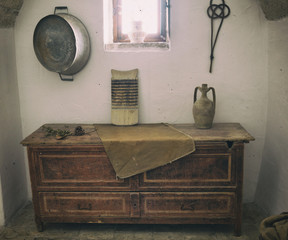 Old wooden chest of drawers.