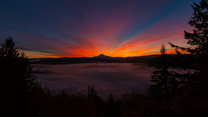 Time Lapse of Sunrise with Mount Hood and Fog in Oregon