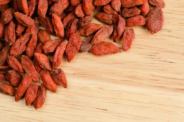 Goji berry dried, closeup background