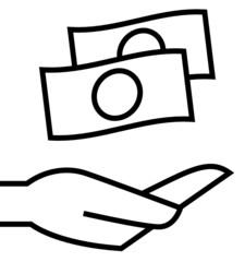 Money on hand icon