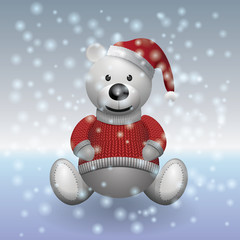 Teddy bear white in red sweater and red hat with snow