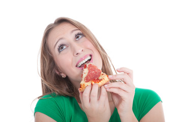 Junge Frau mit Salami Pizza ist glücklich und freut sich