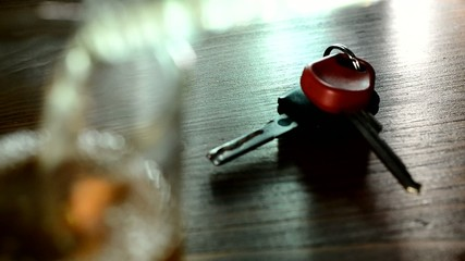 drinker takes the car keys from the table,real time