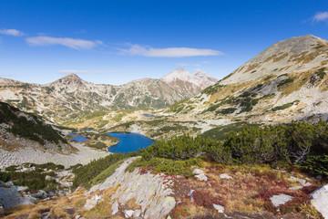 Mountains valley lakes. Bulagria, Pirin mountain ridge.