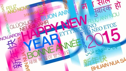 Happy New Year 2015 colored words tag cloud animation
