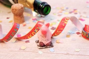 rosa Glücksschwein horizontal