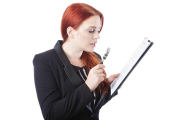 Businesswoman Reading Report with Magnifying Glass