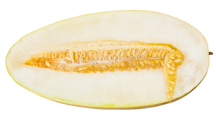 half of Uzbek-Russian Melon isolated on white