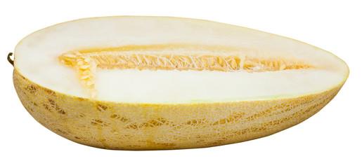 half of ripe Uzbek-Russian Melon isolated on white