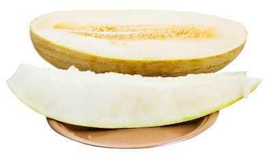 two slices and half of Uzbek-Russian Melon on plate
