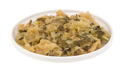 Small plate of cooked cabbage