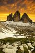 Tre cime di Lavaredo in the sunset , Dolomite Alps, Italy