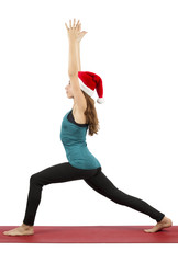 Santa yoga woman doing crescent pose