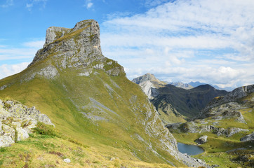 Mountain summit and lake Casterau in the Atlantic Pyrenees