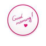 Inscription lipstick to wish good morning glued to mirror poster