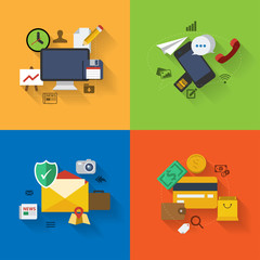 Set of flat design concept icons for web and mobile phone servic