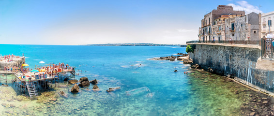 Ortigia and Mediterranean sea in Syracuse, Sicily, Italy