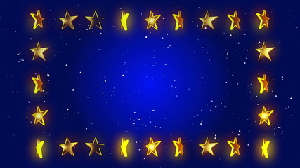 blue abstract loop motion background, frame stars