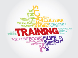 Training and education related words vector concept in tag cloud