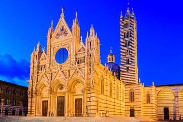 The Cathedral of Siena (Duomo di Siena) at twilight, Italy
