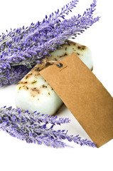 Handmade soap and lavender flowers
