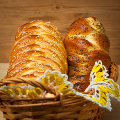 braided bread in the basket