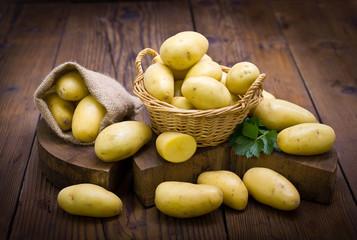 Fresh, organic potatoes on the table