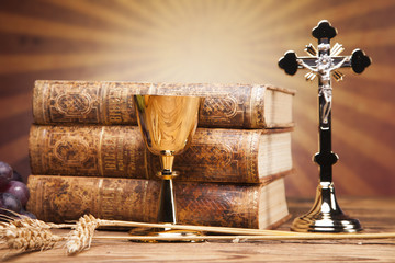 Sacred objects, bible, bread and wine