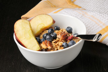 Organic granola with fruit, nuts and berries