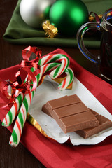 Milk chocolate and candy canes