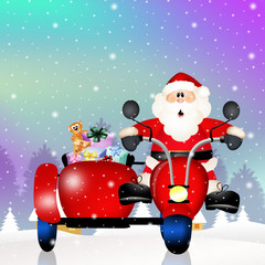Santa Claus on sidecar