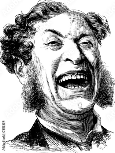 Vintage Illustration laughing man - 73113359