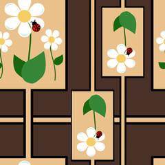 Ladybug with camomile pattern. Vector illustration.