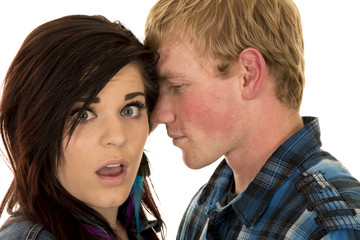 couple close man tell woman secret shock