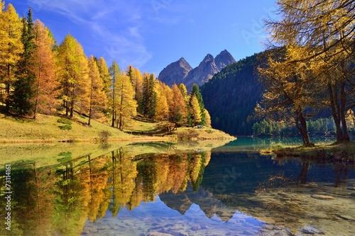 canvas print picture Herbstfarbene Lärchen spiegeln sich im Palpuognasee