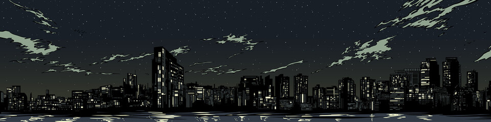 Night city silhouett