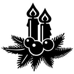 Adventsgesteck mit zwei Kerzen, schwarz, Vektor, freigestellt