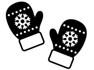 Weihnachtliche Handschuhe, schwarz-weiß, Vektor, freigestellt