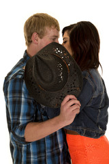 couple partly behind a black cowboy hat