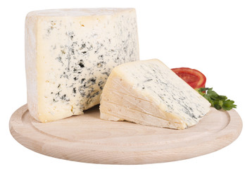 blue cheese on wooden board isolated