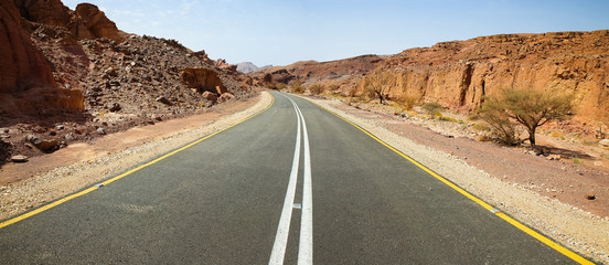 Asphalt desert road.