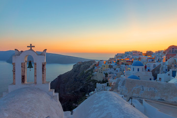Oia village on Santorini island after sunset