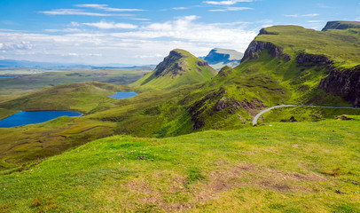 Green landscape on the Isle of Skye in Scotland