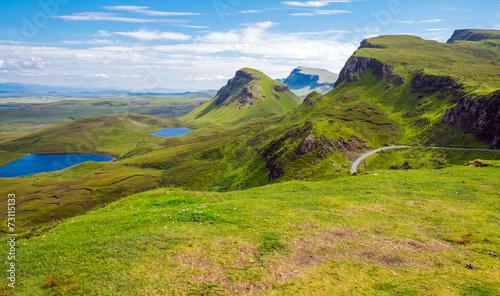 Green landscape on the Isle of Skye in Scotland