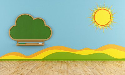 Playroom with cloud chalkboard