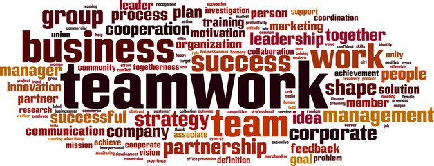 Teamwork word cloud concept. Vector illustration