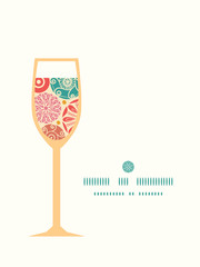 Vector abstract decorative circles wine glass silhouette pattern