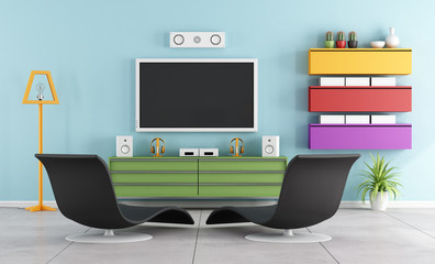 Colorful TV room