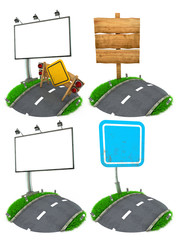 Road Sing Concepts - Set of 3D Illustrations.